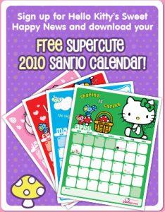 Calendário 2010 da Hello Kitty