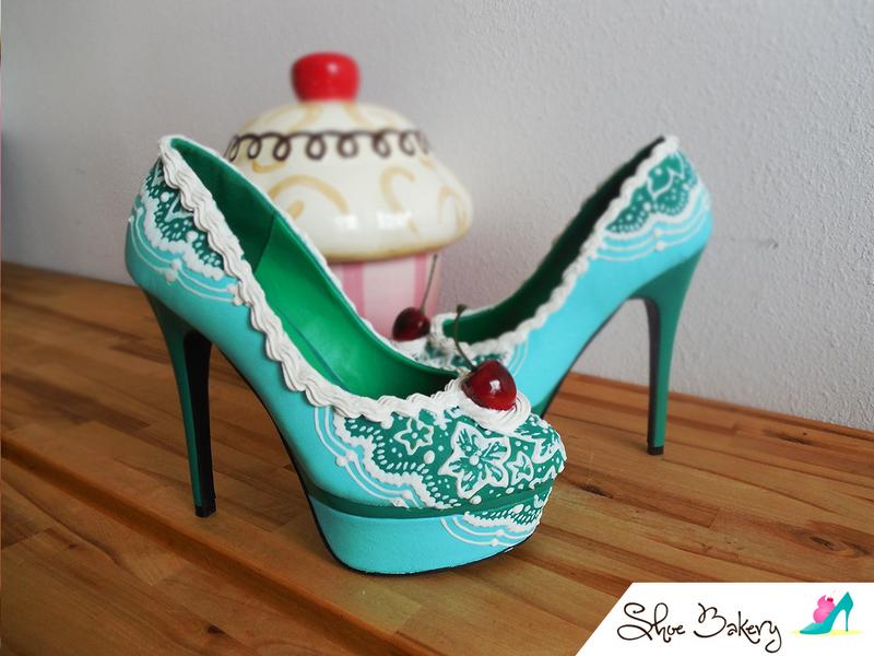 Teal cherry heel