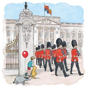 Príncipe George, Rainha Elizabeth e Ursinho Pooh juntos