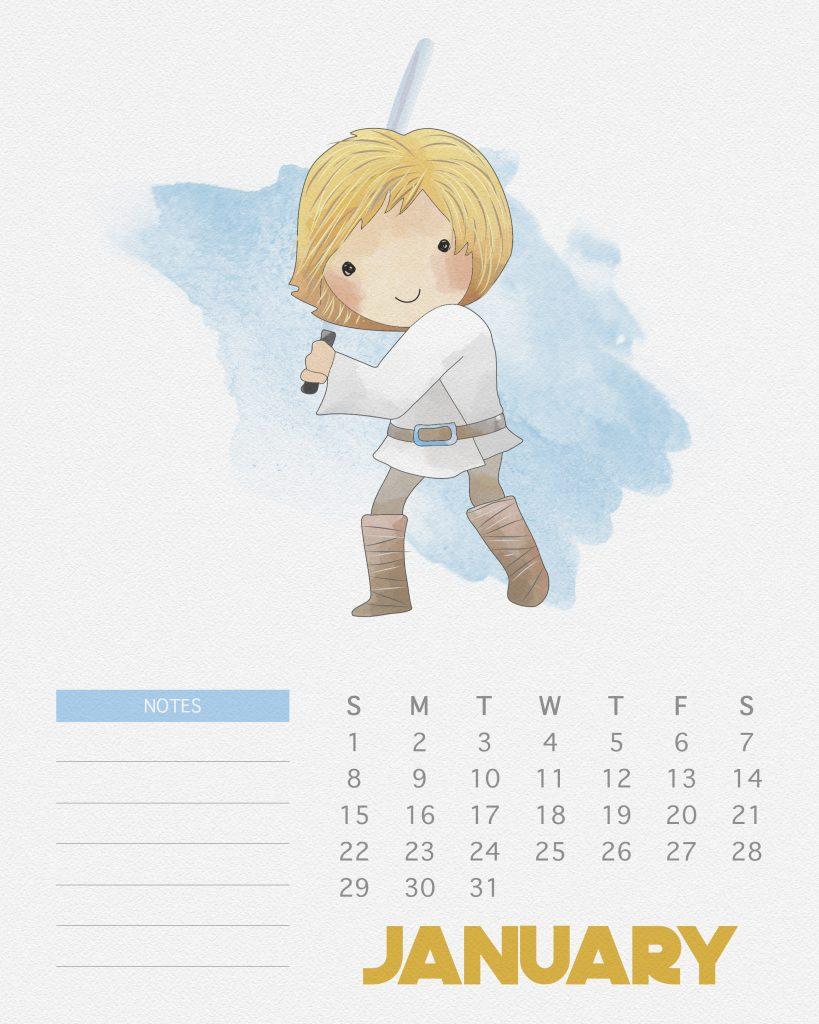 Calendário Star Wars para imprimir